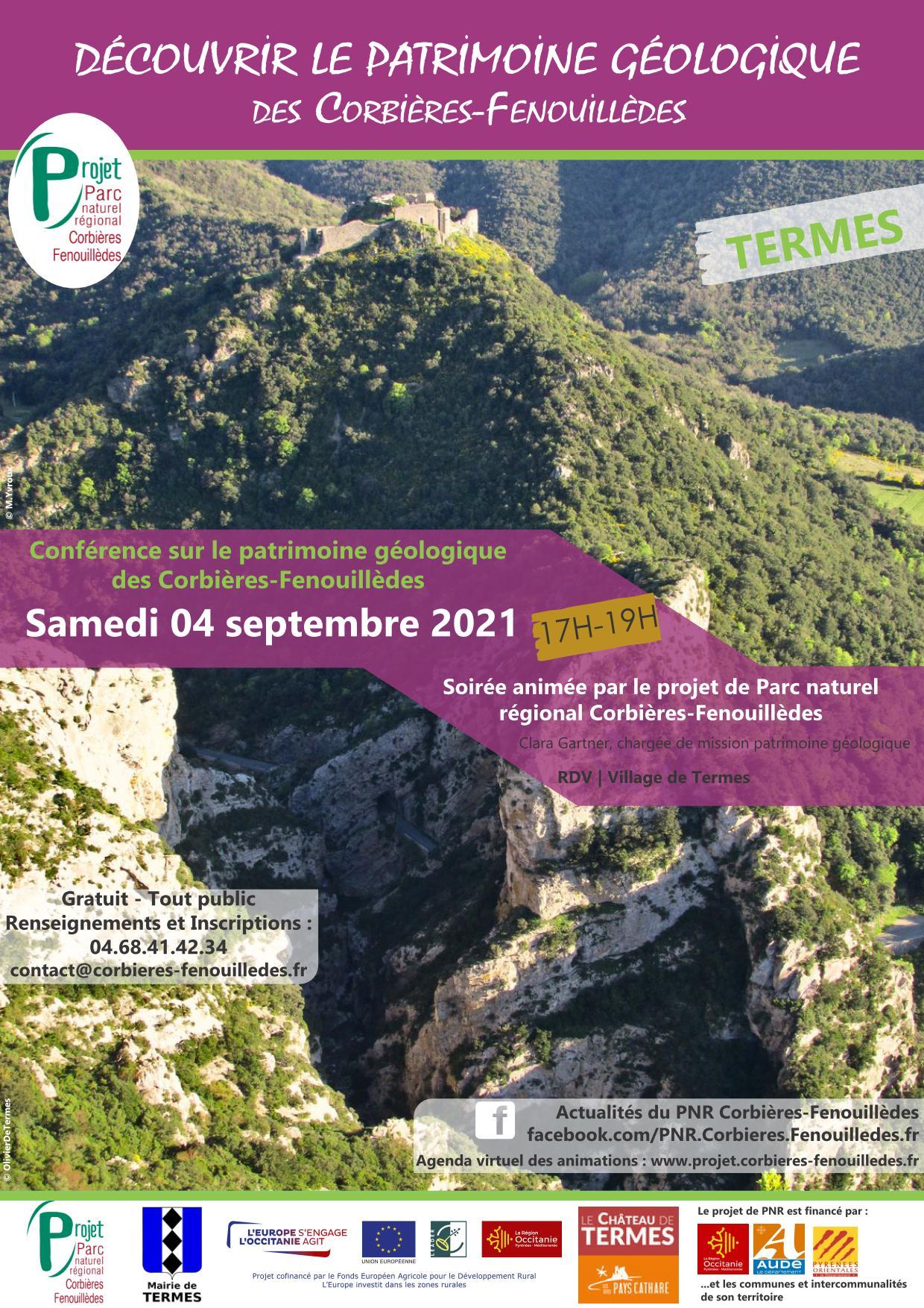 4 septembre : Conférence sur le patrimoine géologique à Termes.